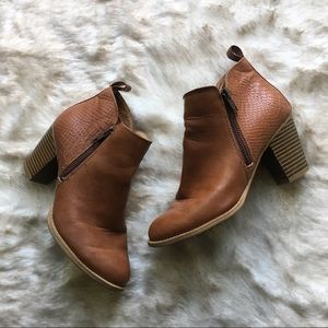 Euro Soft // Tan Embossed Leather Ankle Boots 6